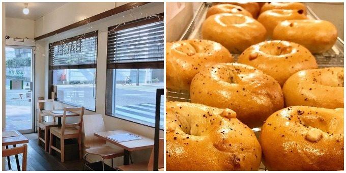 ベーグル専門カフェ「CLOVER BAGLE<クローバーベーグル>の店舗写真とベーグル
