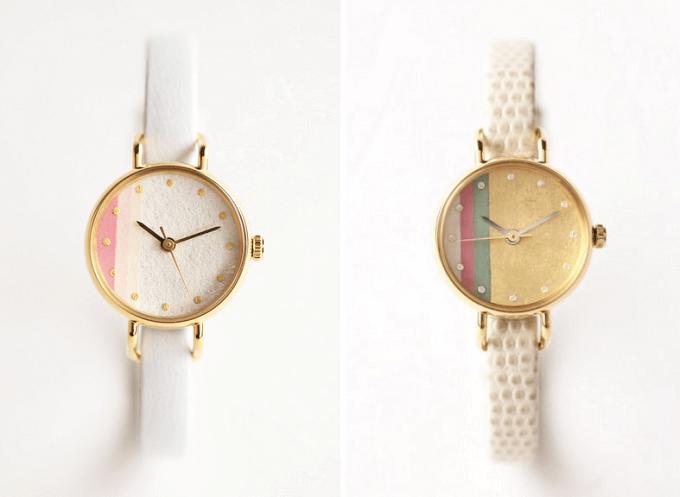 和紙や漆、岩絵具などを文字盤に使用した「はなもっこ」の腕時計「かさね」シリーズ