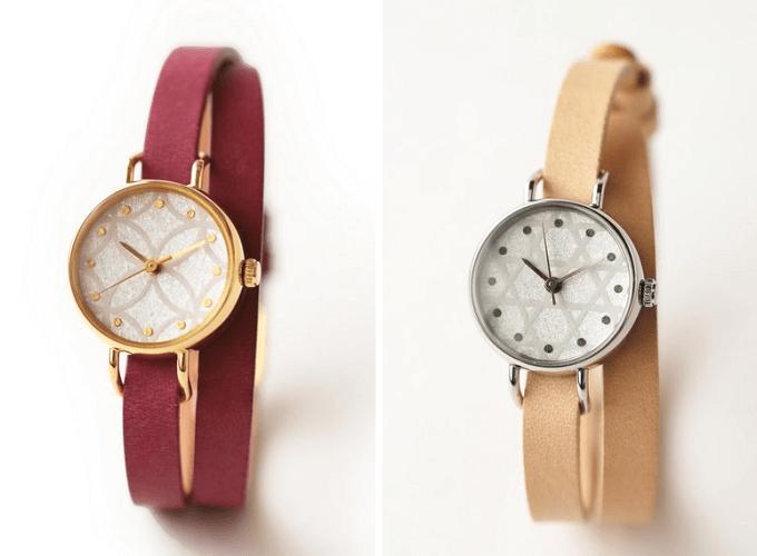 和紙や漆、岩絵具などを文字盤に使用した「はなもっこ」の腕時計「紋切り」シリーズ
