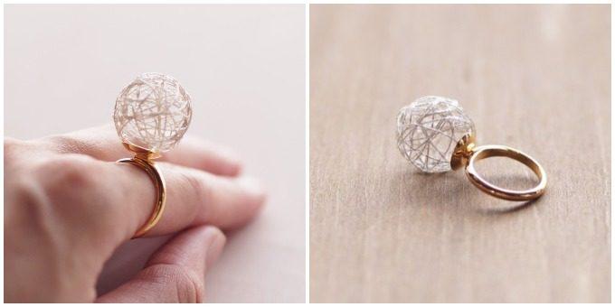 ひらり the airy jewelry」の繊細な糸玉のリング2
