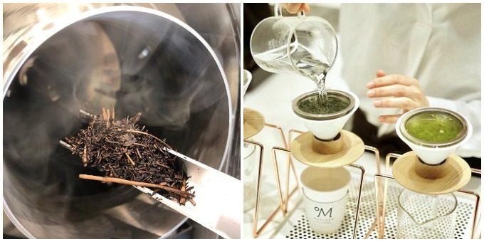 焙煎温度で選ぶ日本茶カフェMaruzen Tea Roastery<マルゼンティーロースタリー>の茶葉焙煎をしているところ、日本茶を淹れているところ
