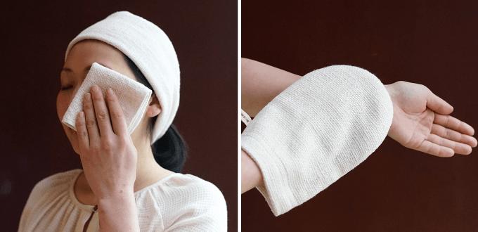 手紡ぎ木綿専門店「益久染織研究所」のタオル「和紡化粧おとし」「和紡ボディミトン」
