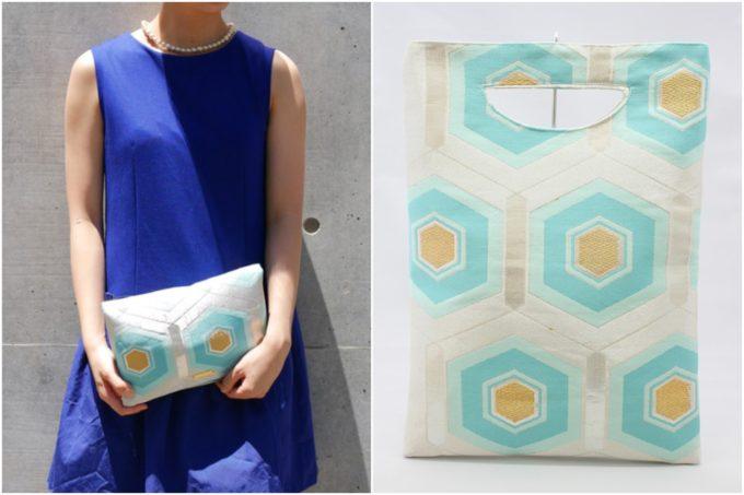 着物や帯でできた「Tomorrow Fabric」の持ち方を選べるクラッチバッグ