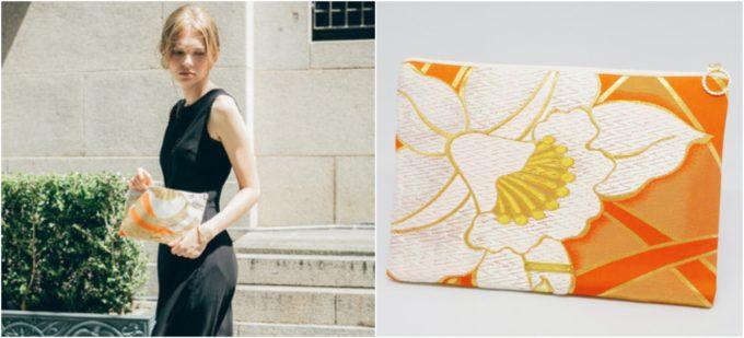 着物や帯でできた「Tomorrow Fabric」のファスナー使用のミニクラッチバッグ