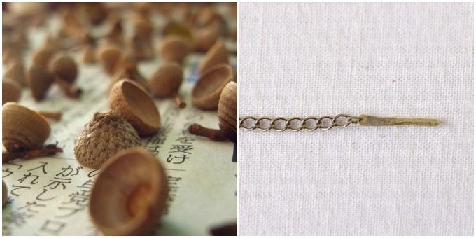 秋におすすめ「12月のきりん」のどんぐりの形のネックレスのパーツ