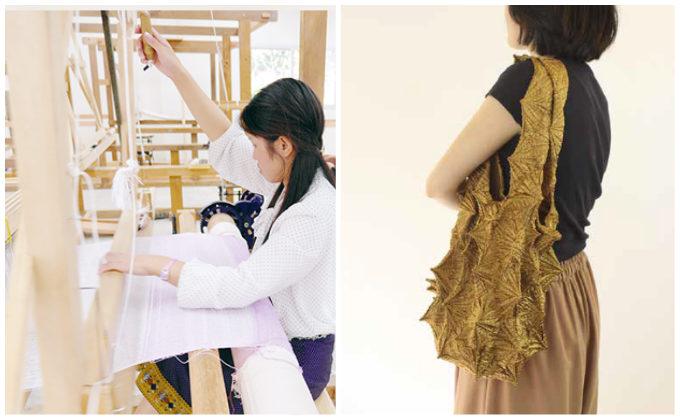 「絞り」の技術を活かした「Shibori bag」のおすすめエコバッグと手織りの様子