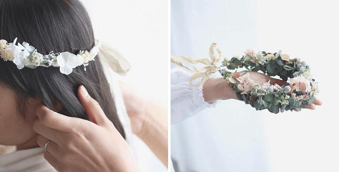 インテリアにもウェディングにもおすすめの「yukiko koreeda」の花冠リースの装着例