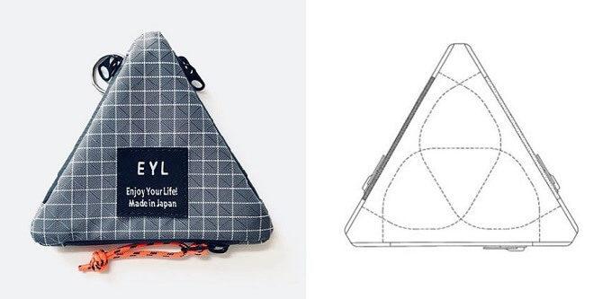 「EYL」のコンパクトなのに小物をたくさん収納できる三角ポーチと内部構造