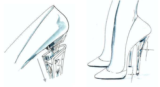 ヒールが取り替え可能な「FAMZON(ファムゾン)」のおしゃれな着せ替え靴のヒール着脱の方法