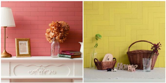 壁や家具に手軽に貼れる天然木の「デコウッドタイル」使用例3