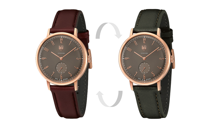 2色のベルトを付け替えられる、秋冬におすすめのシンプルデザインに大人なカラーが魅力な「DUFA」の腕時計