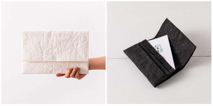 大人におすすめ、手漉き和紙を使った「帋屋(かみや)」のシンプルで上質なクラッチバッグとカードケース