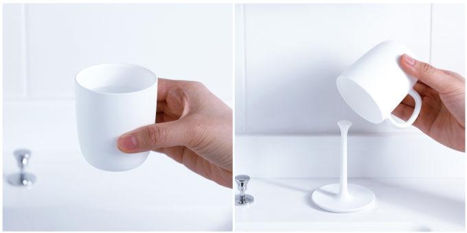 「きれいに暮らす。」のおしゃれでシンプルな洗面小物、コップ