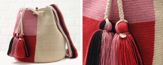秋冬ファッションにおすすめの「CHILA BAGS(チラバッグス)」のピンクと赤の手編みバッグ