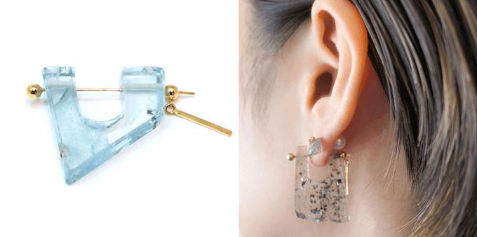 天然石を使った「MONAKA jewellery」のピアス「アクアマリン」