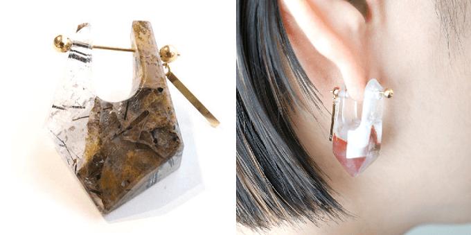 天然石を使った「MONAKA jewellery」のピアス「トルマライズドクオーツ」