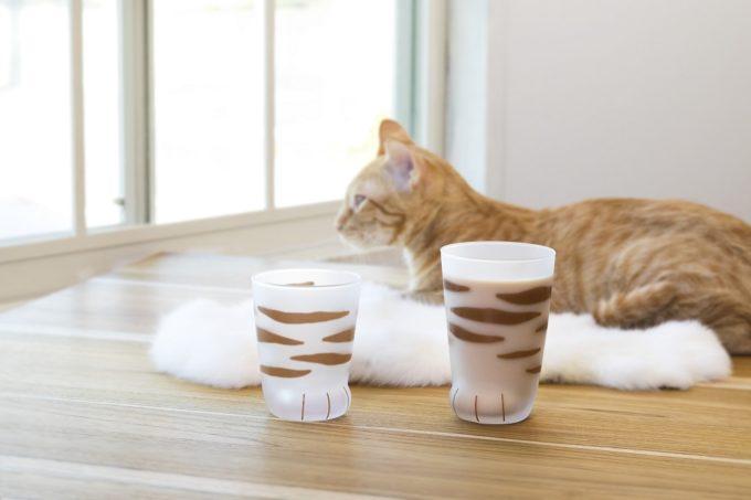 猫好きにおすすめの猫の足の形をしたコップと茶トラの猫