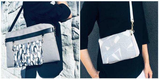 PCバッグに取り付けた「Design Yourself」のポーチと、ショルダーバッグのように持っているところ