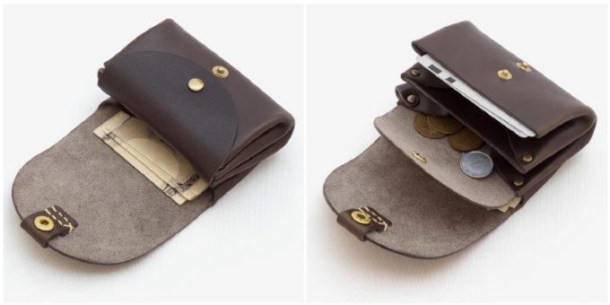 「Duram Factory(ドゥラムファクトリー)」のコンパクトな革財布を開いたところ