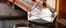 メタリックカラーが華やかな「革切子」のバッグ