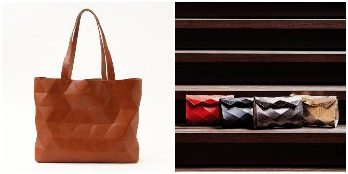 「革切子」のさまざまな形のバッグ