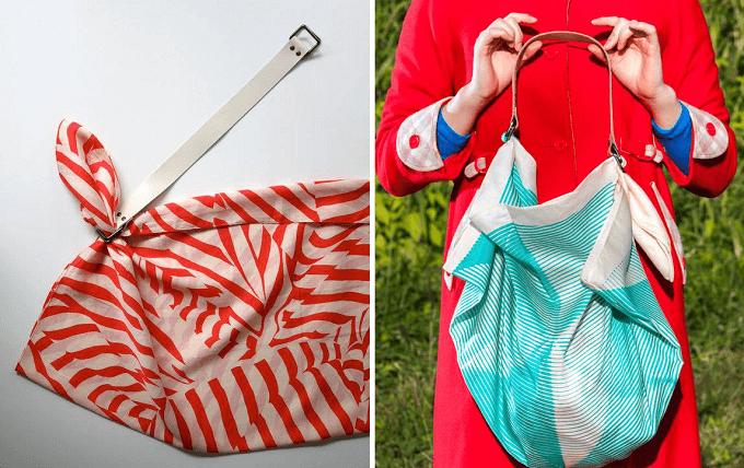 風呂敷をバッグに出来る「Link」のレザーストラップ&風呂敷セット、使い方