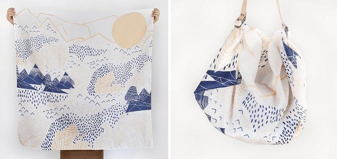 風景の柄の風呂敷をバッグに出来る「Link」のレザーストラップ&風呂敷セット