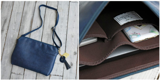 スマホやお財布も入る機能的でかわいいパソコンケース「パソコンクラッチ」、ショルダー仕様と内ポケット