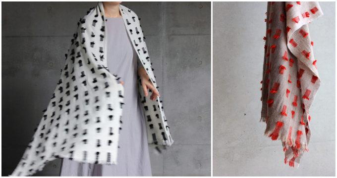 染織作家の高見 由香さんが作る手織りのカシミヤストール「bird」