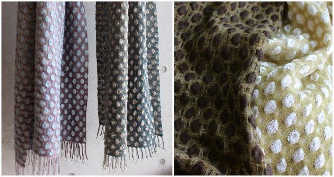 染織作家の高見 由香さんが作る手織りのカシミヤストール「光粒」