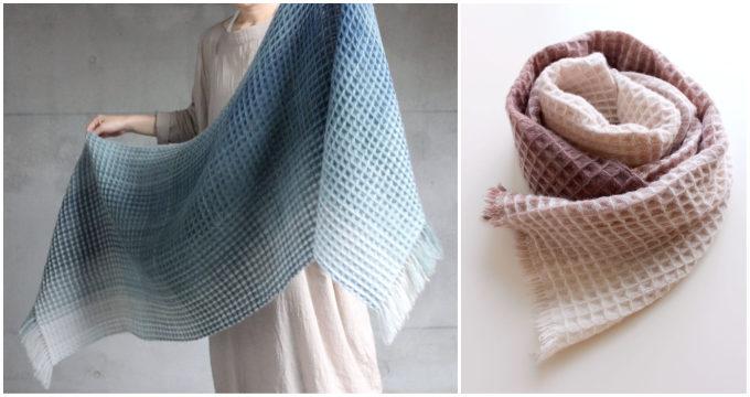 染織作家の高見 由香さんが作る手織りのカシミヤストール「ワッフルストール」