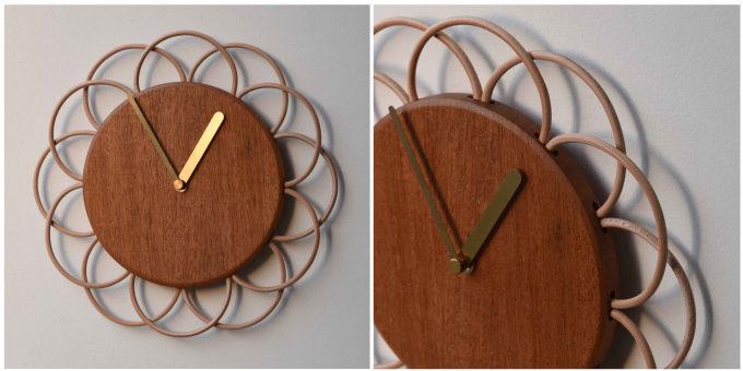 マホガニーを使った「YARN」の壁掛け時計