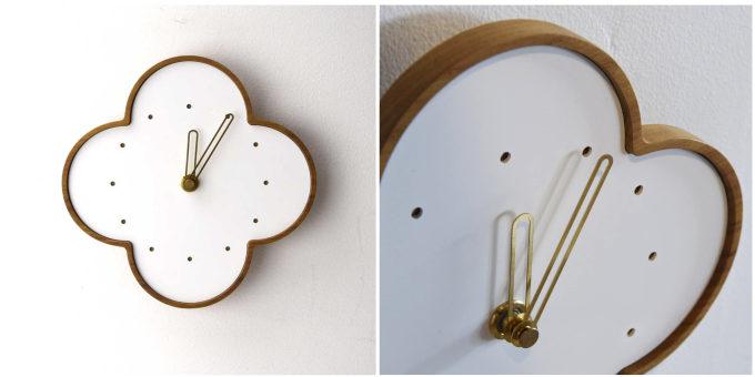 チークを使った「YARN」の壁掛け時計