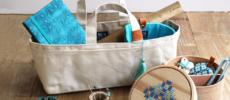 こまごまとした道具もすっきり収納。帆布で出来た「Cohana」のバッグ型小物入れ