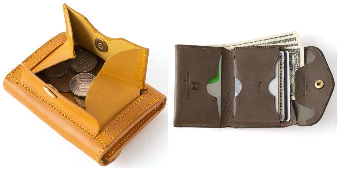 シンプルで使いやすい「藤巻百貨店」のコンパクト財布、「Cramp」シリーズを開いたところ