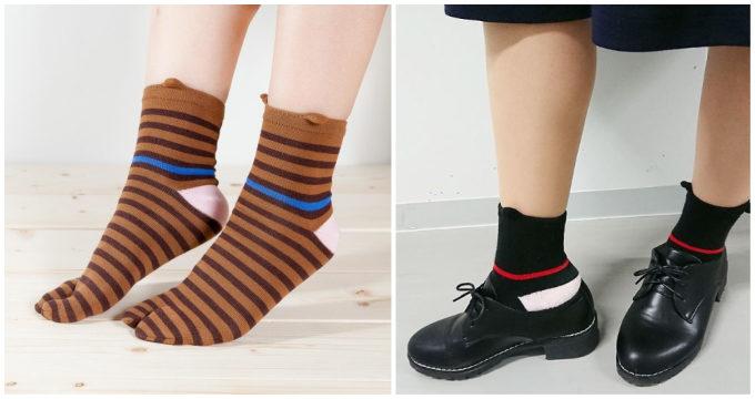「京東都(きょうとうと)」のまだら模様と水玉柄の足袋ソックス2