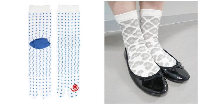 「京東都(きょうとうと)」の雨模様と花柄の足袋ソックス2
