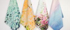 大人の女性におすすめの上品で美しい「SALASUSU(サラス―スー)」のハンカチが並んだ様子