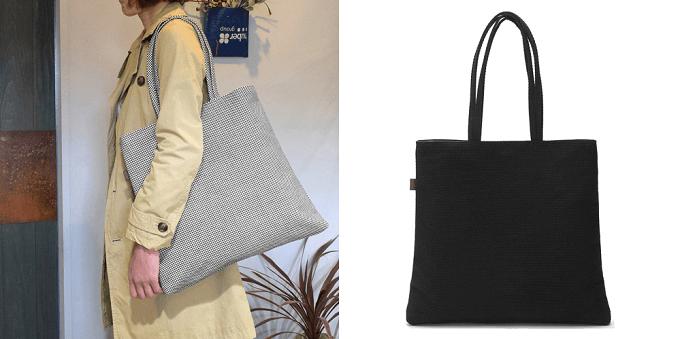 軽くて丈夫、柔道着の素材で作った「sasicco」のトートバッグ「トラぺトート」
