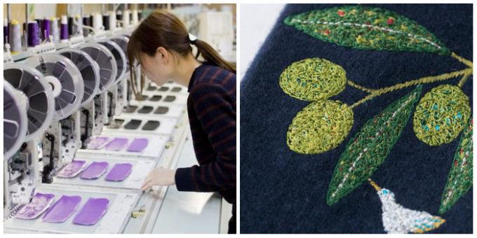 タナベ刺繍の制作風景と、オリーブ柄の刺繍のアップ