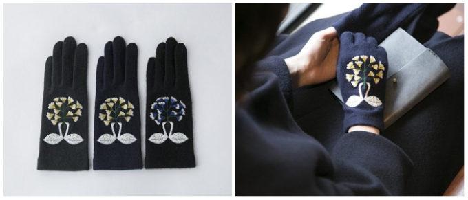 繊細な刺繍が魅力の「STYLE STORE×安原ちひろさん」の大人可愛い手袋、スワン柄