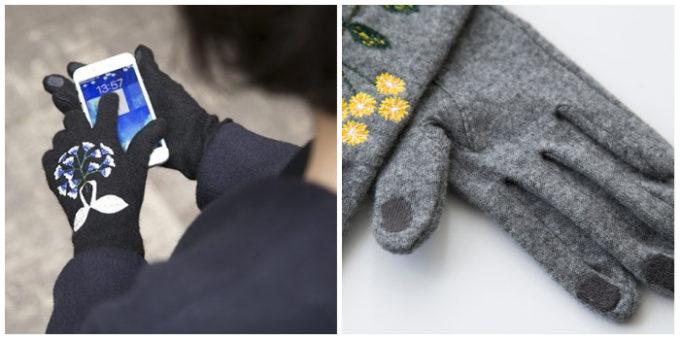 手袋をしてスマートフォンを操作している様子と、手袋の指先のアップ