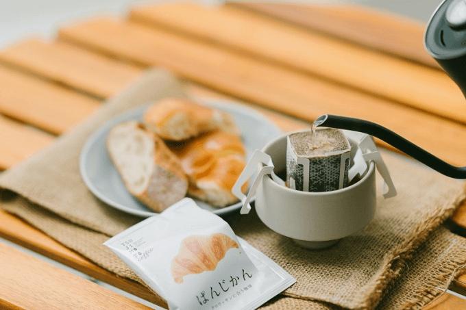 「辻本珈琲」のドリップバッグコーヒー「ぱんじかん」とパンとコーヒー
