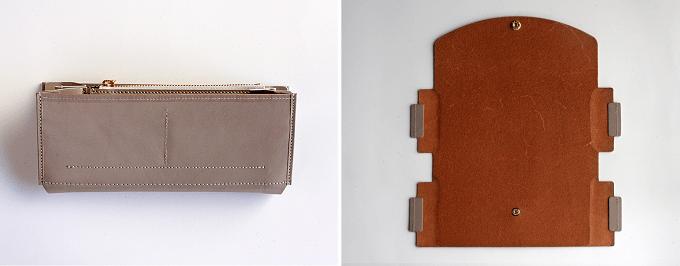 簡単にカバーを付け替えられる「uとto」の革財布、外装をはずしたところ