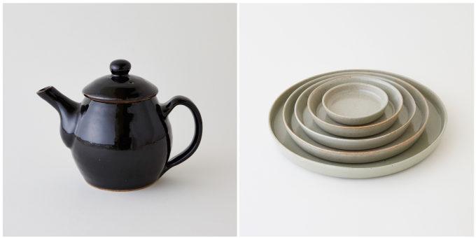 「BOTE&SUTTO」のシンプルな益子焼の器、ポットと皿