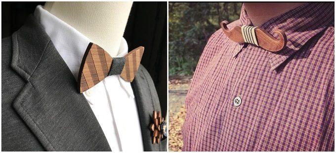 男性へのギフトにおすすめの「wood chocolate」の木の蝶ネクタイ、コーディネート例