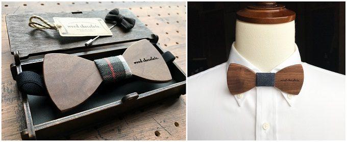 男性へのギフトにおすすめの「wood chocolate」の木の蝶ネクタイ、無地タイプ