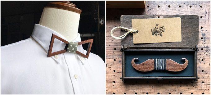 男性へのギフトにおすすめの「wood chocolate」の木の蝶ネクタイ、フレームデザイン、ヒゲ型