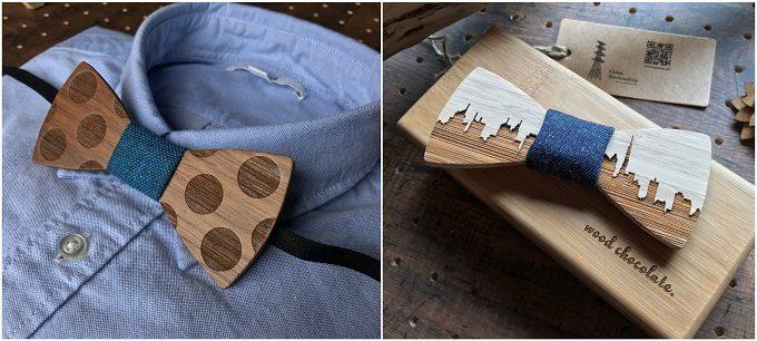男性へのギフトにおすすめの「wood chocolate」の木の蝶ネクタイ、柄入りタイプ