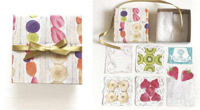 「figpolkadot」の紙雑貨、おしゃれなフルーツサンドカードBOX